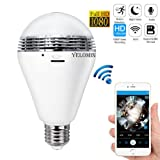 1080P WiFi Light Bulb Camera,HD Wireless IP Camera Home Security System Night Vision Dual Control VR Panoramic 360 Degree Fisheye,Motion Detection with Two-way Audio for Android IOS APP Remote View (Color: sliver)