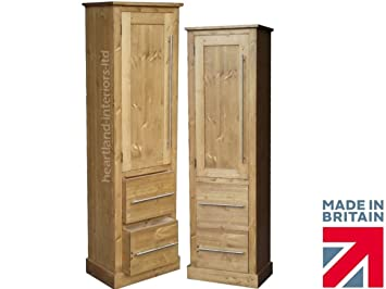 Solid Pine Cupboard, 172 cm Tall Handcrafted & Waxed Linen, Pantry, Larder Bathroom, Hallway or Kitchen Storage Cabinet. Choice of colours. No flat packs, No assembly (CP09)
