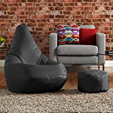 Hi-BagZ® Bean Bag Chair & Matching Footstool Combo - 100% Easy Care High Back Bean Bags BLACK