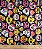 """""""Sugar Skull Girl"""" Snuggle Flannel Fabric, 41"""" Wide, (3) Yards in Continuous Piece"""