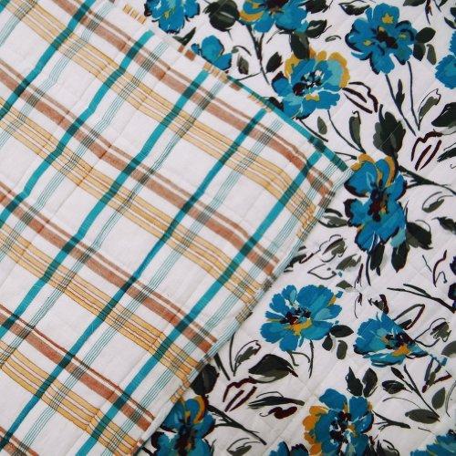 Handmade Cotton Quilt Colcha Reversible Diseño floral Gudri Queen Size blanca sábana Throw India 110