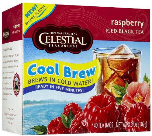 Celestial Seasonings Raspberry Cool Brew Iced Black Tea Bags, 40 Ct
