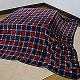 こたつ中掛け毛布 チェック柄 レッド系 フランネル素材 (正方形 185×185cm)