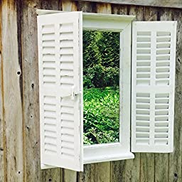 The Stockbridge Farmhouse Style Mirror, Rustic White, Distressed Vintage Finish, Sustainable Fir Wood and Glass, Shutters, Brass Hardware, 27 5/8H x 17 7/8W inches, By Whole House Worlds