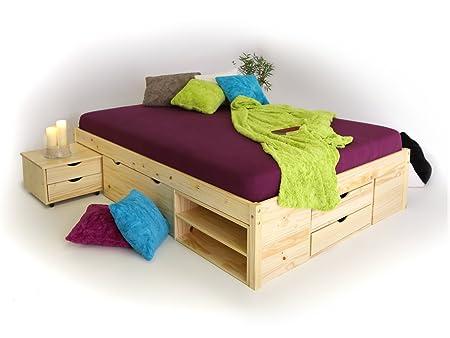 CLAAS Funktionsbett Stauraumbett 180 x 200 cm inkl. Schubkästen fur Kinderzimmer Jugendzimmer als Kinderbett Jugendbett Holzbett in Kiefer natur, 180 cm