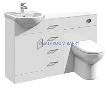 1250mm Modular High Gloss White Bathroom Combination Vanity Basin Sink Cabinet, Four Drawer Cupboard, WC Toilet Furniture & BTW Pan