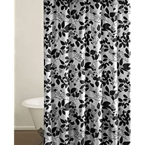 Stylish black and white floral shower curtain