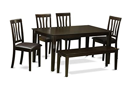 East West Furniture CAAN6-CAP-LC 6-Piece Dining Room Table Set with Bench