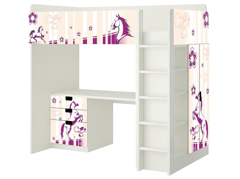 Pferdewelt Aufkleber – SH05 – passend für die Kinderzimmer Hochbett-Kombination STUVA von IKEA – Bestehend aus Hochbett, Kommode (3 Fächer), Kleiderschrank und Schreibtisch bestellen