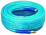 """Amflo 12-100E Blue 300 PSI Polyurethane Air Hose 1/4"""" x 100 With 1/4"""" MNPT Swivel Ends And Bend Restrictor Fittings"""
