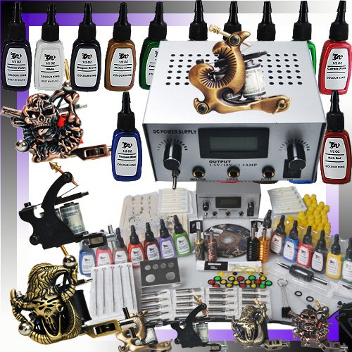 Cheap price professional 4 tattoo gun tattoo kit with for Cheap tattoo kits amazon