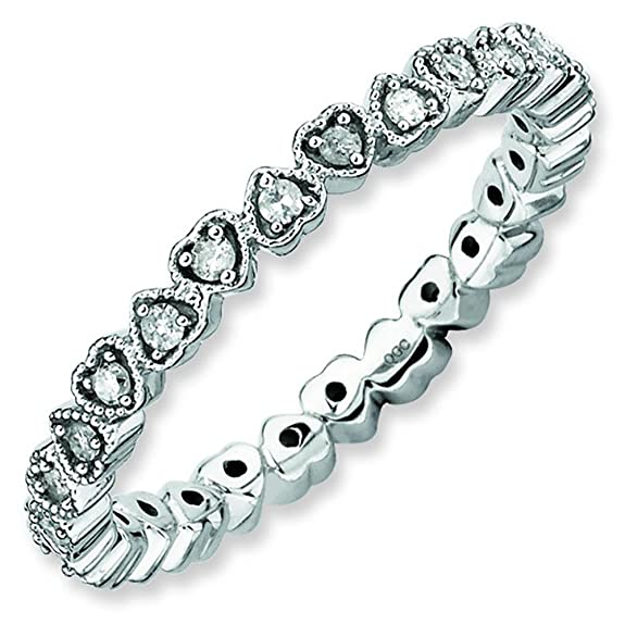Stackable Expressions Size 6 - Diamond Heart 2.25mm Eternity Band Sterling Silver Stackable Ring UK Ring Size - L