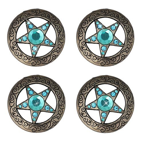 Set Of 2 Texas Star Turquoise Rhinestone Crystal Conchos Horse Saddle Tack Belt