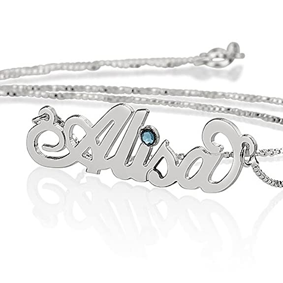 Sterling Silver Personalized Name Necklace with Swarovski Birthstone - Custom Made Any Name