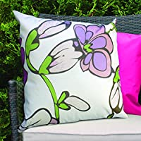 White Funky Flower Design Water Resistant Outdoor Filled Cushion for Cane/Garden Furniture from Gardenista