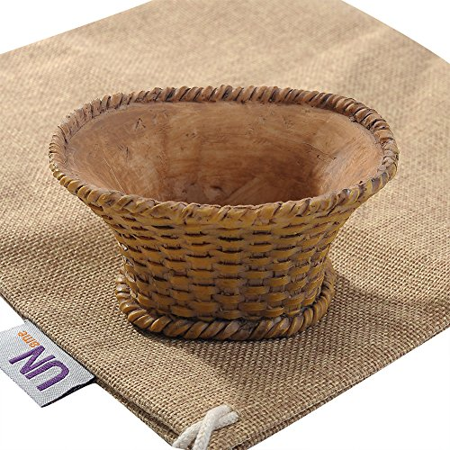 UName Micro Landscape Succulent Plants Creative Flower Planters, Mini Plants Pot, Natural Resin Decoration, Handmade, Small Plant Containers (bamboo basket design)UN228 (Succulent Baskets compare prices)