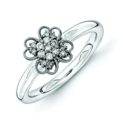 2.25mm Sterling Silver and Balck-plated Stackable Expressions Diamond Flower Ring - Ring Size Options Range: J to T