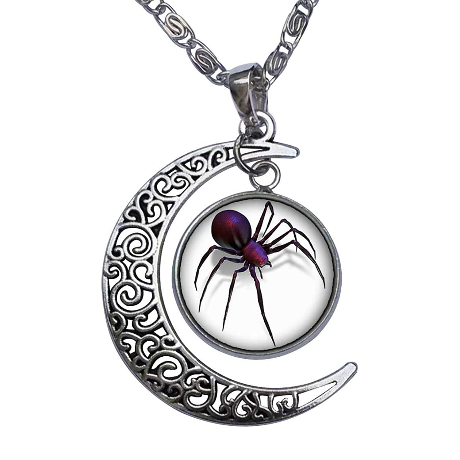 Spider jewelry symbol of power choice and growth black widow spider crescent moon pendant necklace aloadofball Image collections