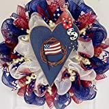Patriotic Country USA Heart Deco Mesh Wreath