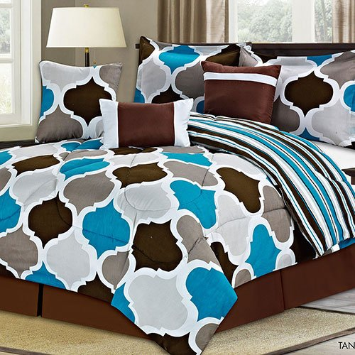Brown Tan Grey Blue White Moroccan Style Pattern QUEEN comforter