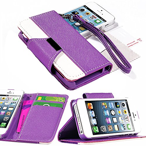 Mylife Passion Purple And White - Classic Design - Textured Koskin Faux Leather (Card And Id Holder + Magnetic Detachable Closing) Slim Wallet For Iphone 5/5S (5G) 5Th Generation Smartphone By Apple (External Rugged Synthetic Leather With Magnetic Clip +