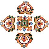 Pavittram Wooden Rangoli With Big Green Stones (17 Cm X 17 Cm)