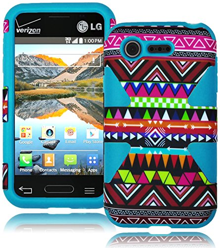 Bastex Heavy Duty Dynamic Hybrid Case For Lg Optimus Fuel L34C - Soft Sky Blue Silicone Cover With Colorful Aztec Tribal Design Hard Shell front-557954