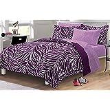 My Room Zebra Purple Ultra Soft Microfiber Comforter Sheet Set, Multi-Colored, Twin/Twin X-Large