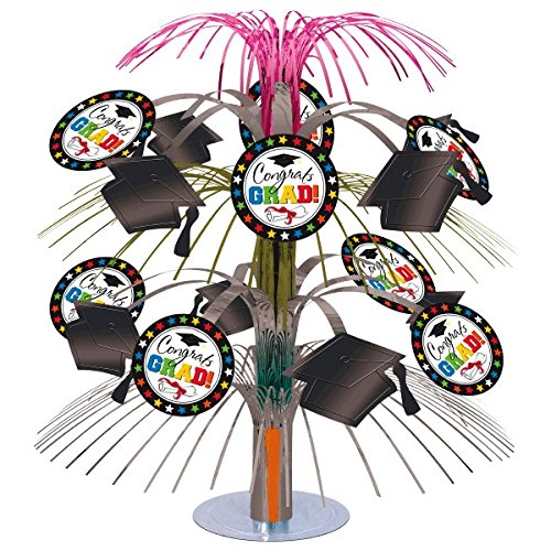 "Graduation Cascade Centerpiece - Multicolor ""Congrats Grads!"" Total 6 Count"