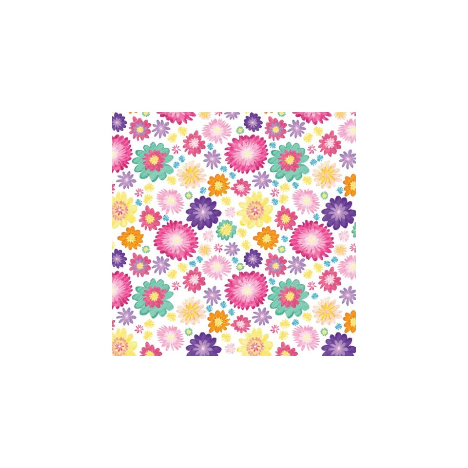 Jillson Roberts Recycled Gift Wrap, Floral Kaleidoscope White, 6 Roll Count (R386)