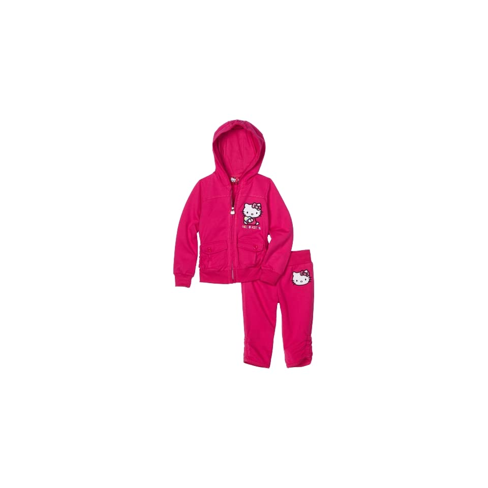 Hello Kitty Girls 2 6x French Terry Active Set with Embroidery, Fuschia Purple, 4