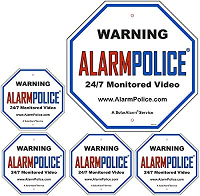 "New! Video Surveillance Sign - 24/7 *Monitored* - No Trespassing Sign - Legend - Large 11.25"" X 11.25"" Octagon Rust Free .06 CCTV Sign & (4) 4"" x 4"" Sticker Decals by SolarAlarm®"