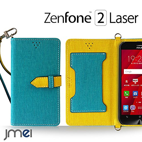ZenFone2 Laser ZE500KL カバー jmeiオリジナルカルネカバー VESTA ブルー 楽天モバイル simフリー ASUS エイスース ゼンフォン 2 レーザー スマホケース 手帳型 ショルダー スリム スマートフォン ケース