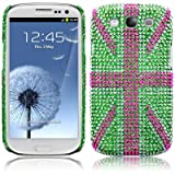 Samsung Galaxy S3 i9300 Green Union Jack Diamante Case / Cover / Shell / Shield PART OF THE QUBITS ACCESSORIES RANGEby Qubits