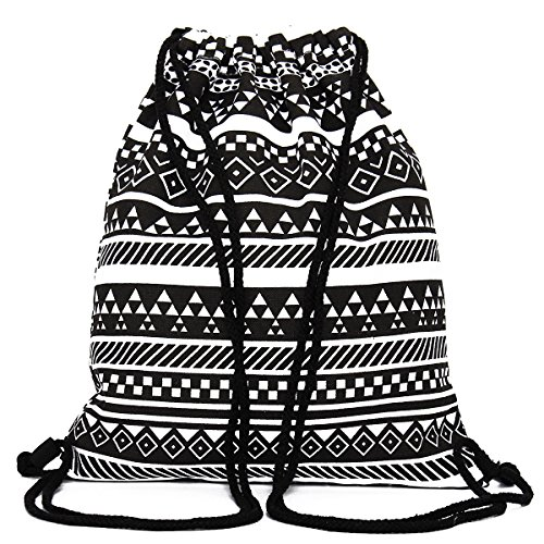 KING DO WAY Donna Borsa Etnico Tela Viaggio Coulisse Zaino Shopping Borsetta Backpack Shoulder Bag Sacca Sportiva da Palestra Borsa Gymbag 34.5cmX40cm