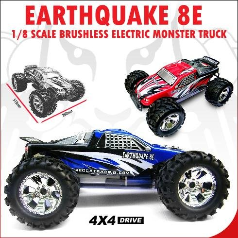 Redcat Racing ~ RC ~ EARTHQUAKE 8E ~ 1/8 Scale Brushless Electric Monster Truck ~ BLUE
