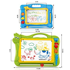 Magnetic Drawing Boards for Kids Erasable Colorful Kids Sketch Board for Writing Painting Sketching Large Size 17 Inch with a Bonus Doodle Sketch Pad Travel Size, Toy for Boys Girls Ages 3+