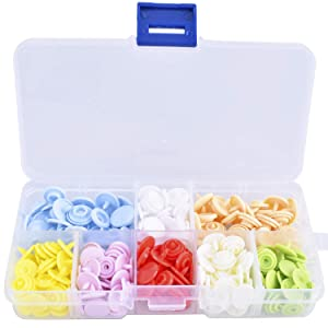 Blovec Plastic Snap Buttons and Snap Pliers Set 80 pcs No-Sew T3 T5 Snap-On Buttons Fasteners Organizer Storage Case for Sewing and Crafting