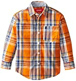 Izod Little Boys' Woven Plaid Long Sleeve Shirt 2, Orange, 4T