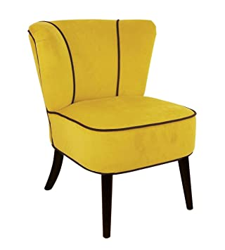 Fauteuil crapaud Jaune aspect velours ~ So Skin