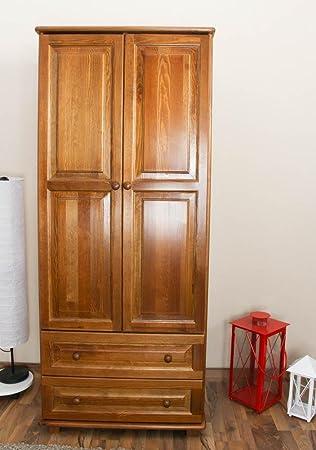 Massivholz-Kleiderschrank Kiefer, Farbe: Eiche 190x80x60 cm