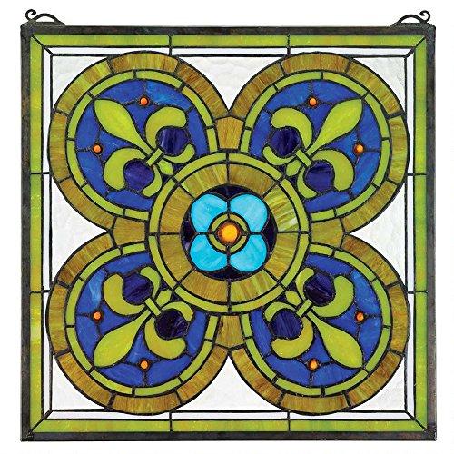 Design Toscano Fleur De Lis Quatrefoil Stained Glass