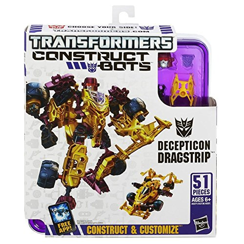 Transformers Construct-Bots Elite Class Decepticon Dragstrip Buildable Action Figure - 1