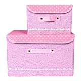 Kenather Collapsible Clothing Storage Box Closet Organizer with Cover Fabric Dust-Proof Set of 2 Light Pink
