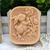 Grainrain Rabbit Silicone Soap Mold Bunny Silicone Mold Crafted Molds Handmade Soap Mold (Color: White)