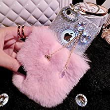 buy I6/ 6S Case- Spicyq® Luxury Rabbit Fur Fluffy Furry Sparkle Glitter Case With Cute Bling Diamond Butterfly Bow-Tie Pendent Design Soft Tpu Cover Case For Iphone 6/6S (Pink)