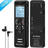 Digital Voice Recorder for Lectures - EVIDA 16GB Voice Activated Audio Recorder Long Battery Dictaphone Recording Device with Playback (Color: Gun Black)