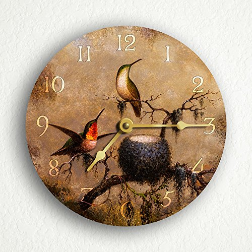 Hummingbirds and Their Nest 6 Silent Wall Clock
