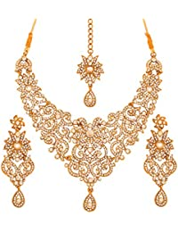 Touchstone Antique Golden Plated Royal And Attractive Necklace Set For Brides And Weddings