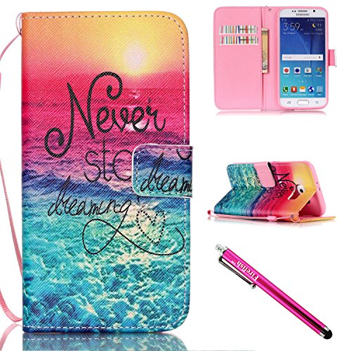 Galaxy S6 Case, Galaxy S6 Wallet Case, Firefish [Kickstand] PU Leather Flip Purse Case Slim Bumper Cover with Lanyard Magnetic Skin for Samsung Galaxy S6 + including One Stylus-Sea